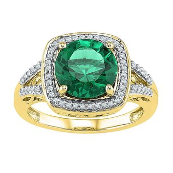 10kt Yellow Gold Womens Round Lab-Created Emerald Solitaire Square Diamond Frame Ring 4-1/6 Cttw