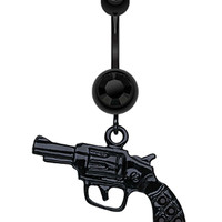 Blackline Pistol Gun Sparkle Belly Button Ring