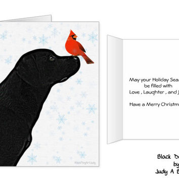 Black Lab Christmas Cards 10 - Labrador Christmas Cards - Black Lab Art 11- Black Dog Christmas Card -Black Lab Santa -