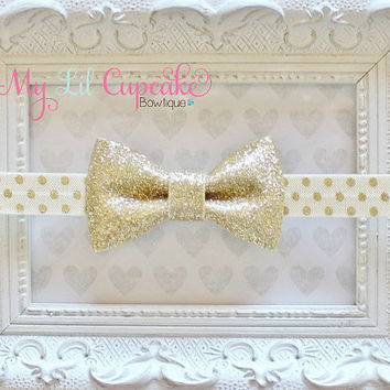 Gold Glitter Bow Headband - Gold Glitter Baby Bow - Gold Polka Dot Headband - Newborn Gold Bow - Gold and Ivory Bow - Gold Baby Headband