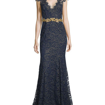 Marchesa Notte Cap-Sleeve Metallic Lace Gown
