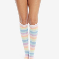 Pastel Rainbow Striped Knee-High Socks