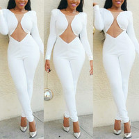 elegant jumpsuit bodysuit rompers womens jumpsuit overalls 2016 Long Sleeve Bandage Bodycon solid white Jumpsuits body Clubwear