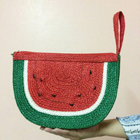 Watermelon Straw Clutch / Sisal Bag /Straw Bag / straw handbag / Beach Bag / straw purse