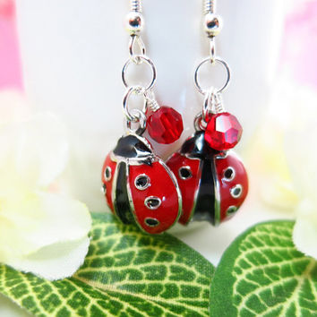 Whimsical red lady bug silver dangle earrings, red Swarovski crystal ladybug earrings, ladybug sterling silver earrings