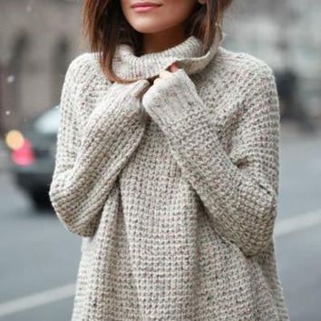 Oversized Speckled Luxe Knit Cowl Neck Sweater