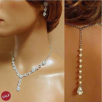 Bridal Crystal Necklace and Earring Jewelry Set