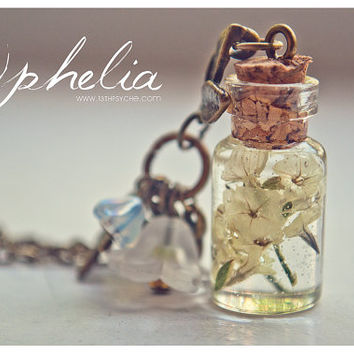 Dry flowers Bottle necklace. Vial necklace with dry flowers. mini Glass bottle necklace. Dry flowers Bottle Pendant. Flower bottle miniature