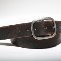 Vintage Distressed Leather Belt  Black Brown Genuine Full Grain Leather Snap Belt, Gift for Him, Gift for Her, Handmade in USA Retro, Unisex