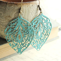Blue Patina Earring Filigree Earrings Aqua by apocketofposies