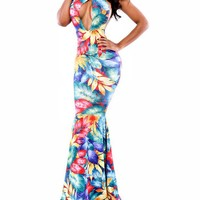 Sexy Womens Floral Halter Key Hole Bodycon Evening Gown Mermaid Maxi Dress