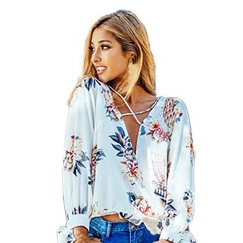 Casual Floral Print Long Sleeve Chiffon Blouse