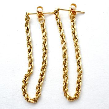 14K Gold Rope Earrings Dangle Vintage