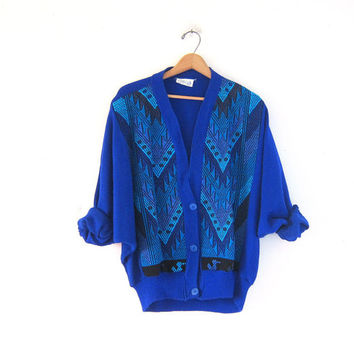 Vintage tribal sweater. Oversized sweater. Boho sweater. Southwestern loomed knit cardigan.