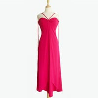 1970's Frank Usher Dress ~ Fuschia Pink Gown ~ 26 Waist ~ Braided Straps ~ Collector's Dream ~ 70s Vintage