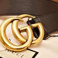 Gucci Gold Double G Buckle Belt