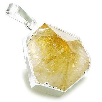 Brazilian Healing Citrine Crystal Point Charm Amulet Gemstone Dipped in Silver Pendant