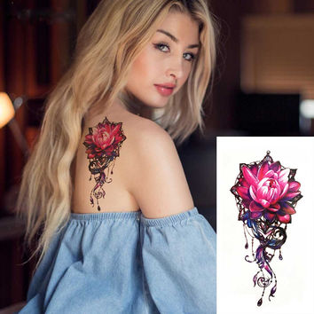 Pink & Black Lotus Rose with Accent Colors Temporary Tattoo