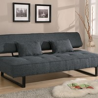 A.M.B. Furniture & Design :: Living room furniture :: Sofas and Sets :: Sofa Sets :: Dark gray tweed fabric folding futon sofa bed with espresso finish legs