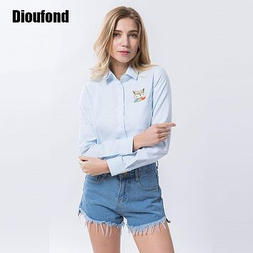 Dioufond Animal Embroidery Print Fox on Pocket Shirts Lady  Spring  White Blouse Shirts Women Long Sleeve Tops