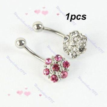 ac DCCKO2Q 1pcs Crystal Rhinestone Double Color Belly Navel Button Bar Ring Body Piercing