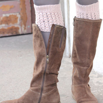 Pink cute knitted wool boot cuff topper - nice gift with unique pattern