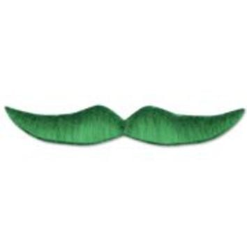 5 1/2in Green Hairy Adhesive Mustache