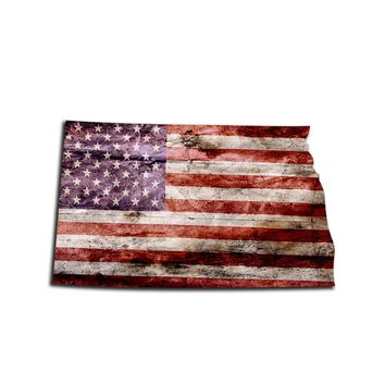 North Dakota Distressed Tattered Subdued USA American Flag Vinyl Sticker