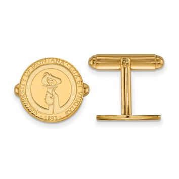 NCAA 14k Gold Plated Silver University of Montana Crest Cuff Links