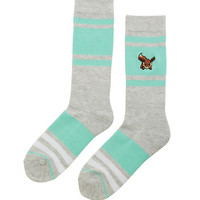 Pokemon Eevee Grey Mint & White Striped Crew Socks
