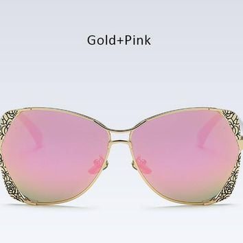 Classy Italian Gold Carving Metal Frame Sunglasses