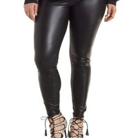 Plus Size Black High-Waisted Liquid Leggings by Charlotte Russe