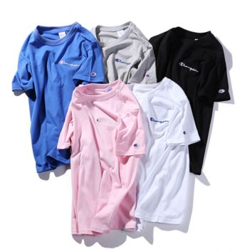 """ CHAMPION""Hot Sale Fashion loose leisure round neck T-shirt (5 color) blue"