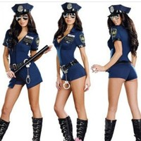 LWQA Female Black Cop Uniform Outfits Sexy Police Officer Costume Women Club Game Deguisement Halloween Cosplay Costumes Plus Size