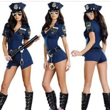 DCCKWQA Female Black Cop Uniform Outfits Sexy Police Officer Costume Women Club Game Deguisement Halloween Cosplay Costumes Plus Size