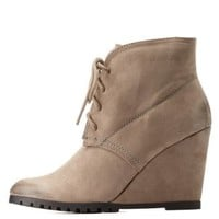 Taupe Qupid Pointed Toe Lace-Up Wedge Booties