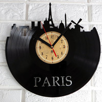 Vinyl Record Clock - Paris.The package will be shiped in JANUARY 2015.