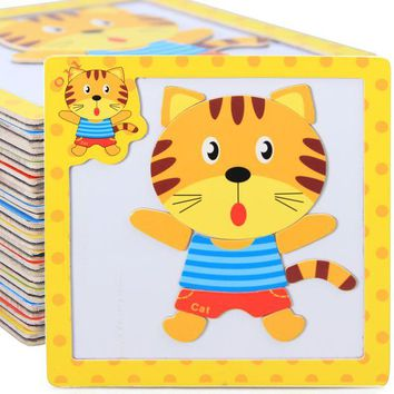 DCCKL72 Kids 3D Magnetic Puzzles Jigsaw Wooden Toys Cartoon Animals Puzzles Tangram Child Educational Toy for Children