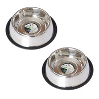 2 Pack Stainless Steel Non-Skid Pet Bowl for Dog or Cat - 8oz - 1 cup