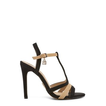 Laura Biagiotti Black Ankle Strap Heel Sandals