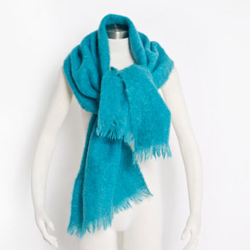 Vintage Oversized Scarf - Mohair + Wool Bright Teal Blue Scottish Shawl Wrap 1960s