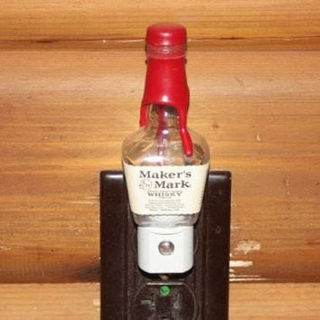 Upcycled Mini Maker's Mark Bottle Night Light, LED Night Light, Upcycled Liquor Bottle