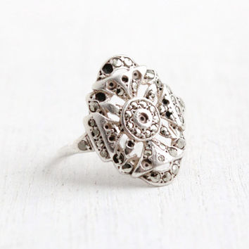Vintage Art Deco Marcasite Shield Ring- Size 7 1930s 1940s Sterling Silver Jewelry