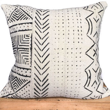 "African Mud Cloth Pillow Cover 20"" inch White"