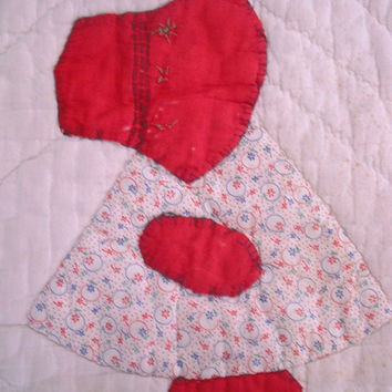 Vintage Primitive Sun Bonnet Sue Quilt square ~ Ready to display ~ Farm House Cottage
