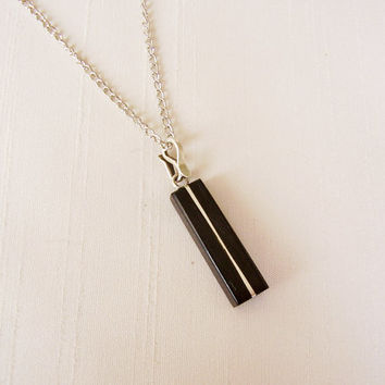 Rectangle Geometric Pendant Ebony and Silver, silver plated chain - Women or Men Necklace - Men Jewelry - Hipster Jewellery - Wood Pendant