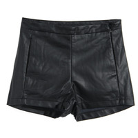 ROMWE | Black Fake Leather Shorts, The Latest Street Fashion