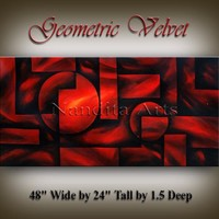 """Abstract Geometric Art, 48"""" Red Abstract Painting, Modern Art, Large Painting on Canvas Large Artwork Home Decor by Nandita Albright"""