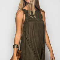 SLEEVELESS SUEDE SHIFT DRESS WITH SEWN EDGE DETAIL
