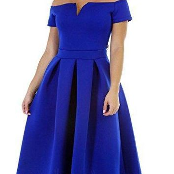 Lovezesent Blue Off Shoulder Formal Midi Evening Dress for Womens Plus Size Flare Pleated Party Homcoming Dresses Short